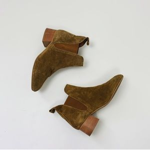 TopShop Tan Suede Heeled Chelsea Boots